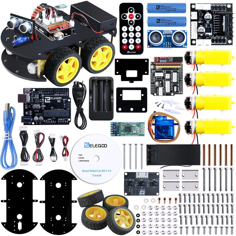ELEGOO UNO R3 Kit de Coche Robot Inteligente V3.0 Plus Compatible con Arduino IDE con Módulo de Seguimiento de Línea, Sensor Ultrasónico, Módulo IR, Kit Robótico Coche Educativo STEM para Niño, Adulto