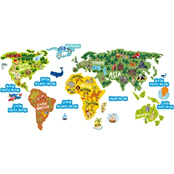 Lepni world map kids stickers wall art wall decals lepni world map kids stickers wall art wall decals removable dcor gumiabroncs Gallery