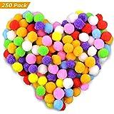 Gifort 250 stücke 2-2.5cm Pompons, Bunte Pompom, Pom Pom bälle Flauschigen Plüsch Bälle für Lustige DIY Kreative Handwerk (250pcs 2-2.5 cm)
