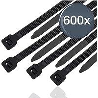 600x Ensemble de serre-câbles noir - court et long - indéchirable et résistant aux UV - différentes longueurs - pour l…