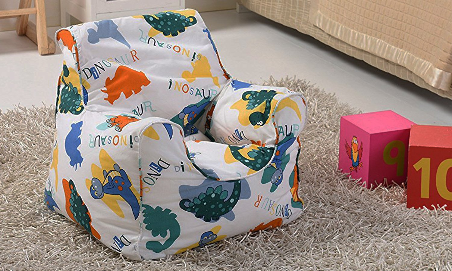 Childrens Bean Bag Chair With Cool Dinosaur Print Amazoncouk Kitchen Home