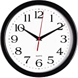 Bernhard Products Black Wall Clock Silent Non Ticking - 10 Inch Quality Quartz Battery Operated Round Easy to Read Home/Offic