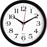منتجات برنهارد ساعة حائط سوداء صامتة غير موقوتة - 10 بوصة بطارية كوارتز عالية الجودة تعمل دائرية سهلة القراءة المنزل / المكتب