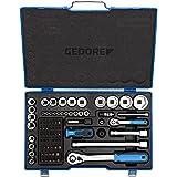 GEDORE Steeksleutelset, set 81-delig, 1/4 + 1/2 inch, gereedschap, moersleutelbits, voor auto, 19 V20 U20, blauw