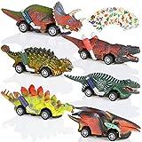 GOLDGE 6pz Coche de Juguete de Dinosaurios para Niños, 3 4 5+ Años Coches de Dinosaurios y 6pz Pegatina Tatuaje de Patrón de