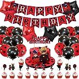 Ladybug - Suministros para fiestas milagrosas para mariquita, superhéroe, chica, niños, incluye pancartas con tema de mariqui