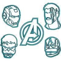 Set di 5 Tagliabiscotti formine con i personaggi degli Avengers (Iron Man, Thor, Capitan America e Hulk)