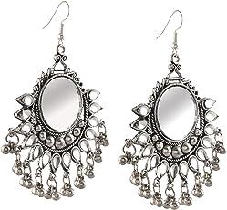 Cardinal Oxidised Mirror Afghani Tribal Earring Hook Earring For Women/Girl