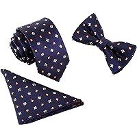 Uomo Gentleman Papillon Classico 6*12 cm & Cravatta Stretta 6 cm & Fazzoletto da Taschino 3 in 1 Set