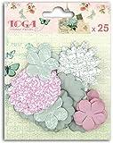 Toga AA32 Lot de 25 Fleurs imprimées Papier, Rose/Vert, 10,5 x 13,5 x 1 cm