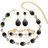 3-4 Pack Rhinestone Crystal Choker Necklace Tiara Crown Link Bracelet Teardrop Dangle Earrings Jewelry Sets for Women Girls,