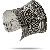 YouBella Jewellery Silver Plated Oxidised Cuff Bracelet Bangle for Women and Girls