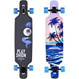 PLAYSHION Longboard 39 Zoll, mit ABEC-11 Kugellagern, Drop-Through Freeride Skateboards Cruiser
