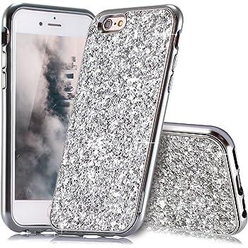 Slynmax Coque iPhone 6s Plus Argent,Coque iPhone 6 Plus/6s Plus, Silicone Paillette Strass Brillante Bling Bling Glitter de Luxe,Bumper Housse Etui de Protection [Ultra Fin] [Anti Choc] Glamour