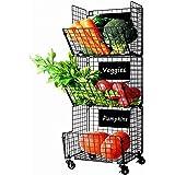 Paniers à Légumes à Fruits Suspendus à 3 Niveaux Avec Roue-5 Crochets en S, Tableaux Noirs Amovibles,Parfait pour La Cuisine,