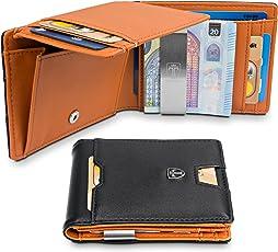 TRAVANDO ® Geldbeutel mit Geldklammer Brisbane - 10 Kartenfächer - Großes Münzfach - Schlankes Portemonnaie - RFID Schutz - Glatt-Leder-Optik - Geschenk Box - Designed in Germany