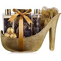 accentra Luxury Badeset Geschenkset in wunderschönem goldenem Glitzer Pumps, 9-teiliges Luxus Beautyset Pflegeset…
