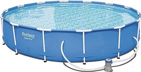 Bestway Steel Pro Frame Pool Set rund, mit Kartuschenfilterpumpe, 427x84 cm, blau