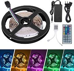 LED Striscia 5M RGB 5050,Duractron led striscia 12V 150 led + 44 Tasti Telecomando + Alimentatore + Ricevitore e Connettori(Non Impermeabile)