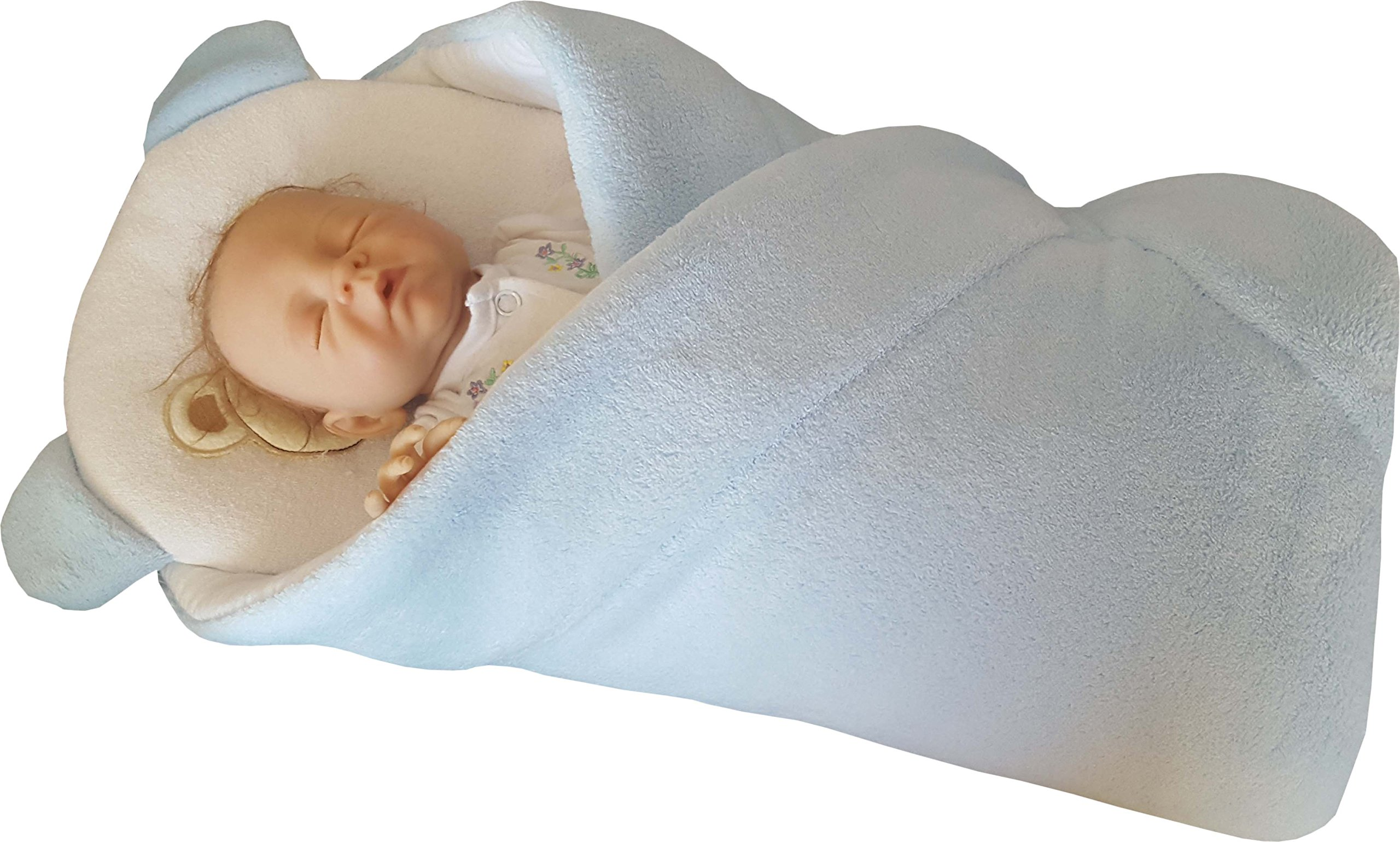 BlueberryShop manta – cambiador con almohada de forro polar | Saco de dormir para bebés recién nacidos | Para bebés de 0-3 meses | Regalo perfecto para Baby Shower | 78 x 78 cm | Amarillo