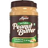 Alpino Natural Peanut Butter Crunch 2.4 KG | Unsweetened | Made with 100% Roasted Peanuts | 30% Protein | No Added Sugar | No