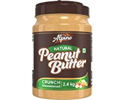 Alpino Natural Peanut Butter Crunch 2.4 KG | Unsweetened | 30% High Protein Peanut Butter Crunchy | Made with 100% Roasted Pe