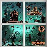 Akface 98PCS Halloween Fenêtre Autocollants Amovible, Fenêtre Miroir Autocollants pour Halloween Décorations De Fête pour Mai