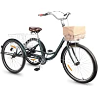 Viribus Dreirad für Erwachsene Dreirad 26 Zoll Fahrrad mit Korb 3 Rad Fahrrad für Erwachsene Adult Tricycle 3-Rad…