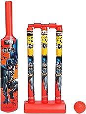 Zitto Batman Mini Cricket Set with 1 Plastic Bat and Ball, 3 Wickets, Base and Bail