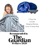 Tranquillow Premium Adult Weighted Blanket 7Kg (15 lbs) 3pcs set with Removable Cover & Reflexology Eye Mask for…