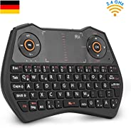 Rii K28C Mini Tastatur Wireless, Mini Tastatur Kabellos mit Touchpad, Mini Tastatur Beleuchtet für Smart TV Fernbedienung, H