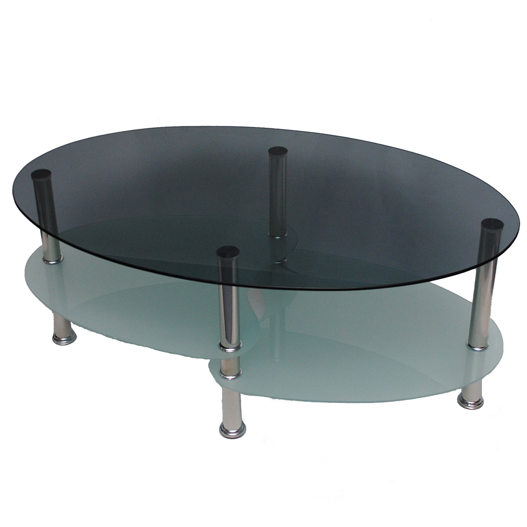 Tavolo vetro – ovale – 8 mm vetro di sicurezza fumè – acciaio innox