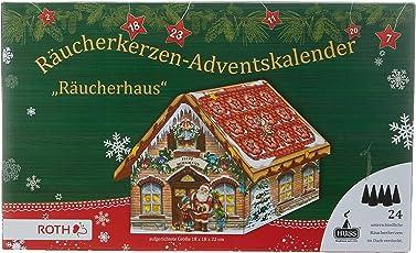 """Räucherkerzen-Adventskalender""""Räucherhaus"""", 24 verschiedene Räucherkerzen im Dach, Größe: 18x18x22 cm"""