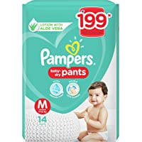 Pampers All round Protection Pants, Medium size baby diapers (MD), 14 Count, Anti Rash diapers, Lotion with Aloe Vera