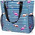 Comius Sharp Strandtasche Damen, Shopper Schultertasche Canvas Beach Bag, Große Strandtasche, Umhängetaschen mit Reißverschlu