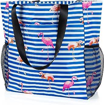 Comius Sharp Strandtasche Damen, Shopper Schultertasche Canvas Beach Bag, Große Strandtasche, Umhängetaschen mit Reißverschluss für Fitnessstudio, Wandern, Picknick, Reisen, tägliche Taschen