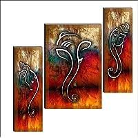 SAF 6MM Ganesha Set of 3 Panel Digital Reprint 12 inch x 18 inch Painting SANFJM1004