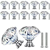 VIPMOON Kristallen Kast Knoppen,12 stks 30mm Helder Glas Lade Knoppen Kristal Cut Deur Handgrepen Diamant Trekt Knoppen met S