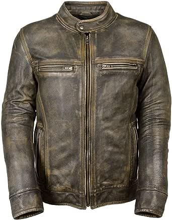 Fashion_First Mens Cafe Racer Triple Stitch Vintage Biker Distressed Brown Wax Leather Jacket