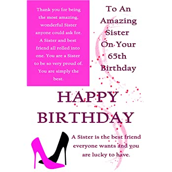 Sister 65th Birthday Card With Removable Laminate Amazon