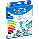 Giotto 494900 - Pack de 12 rotuladores decorativos para tejidos, Permanente