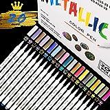 Rotuladores Metálicos,RATEL 20 colores brillantes Marcador Metálico para manualidades de bricolaje, pintura rupestre, álbum d
