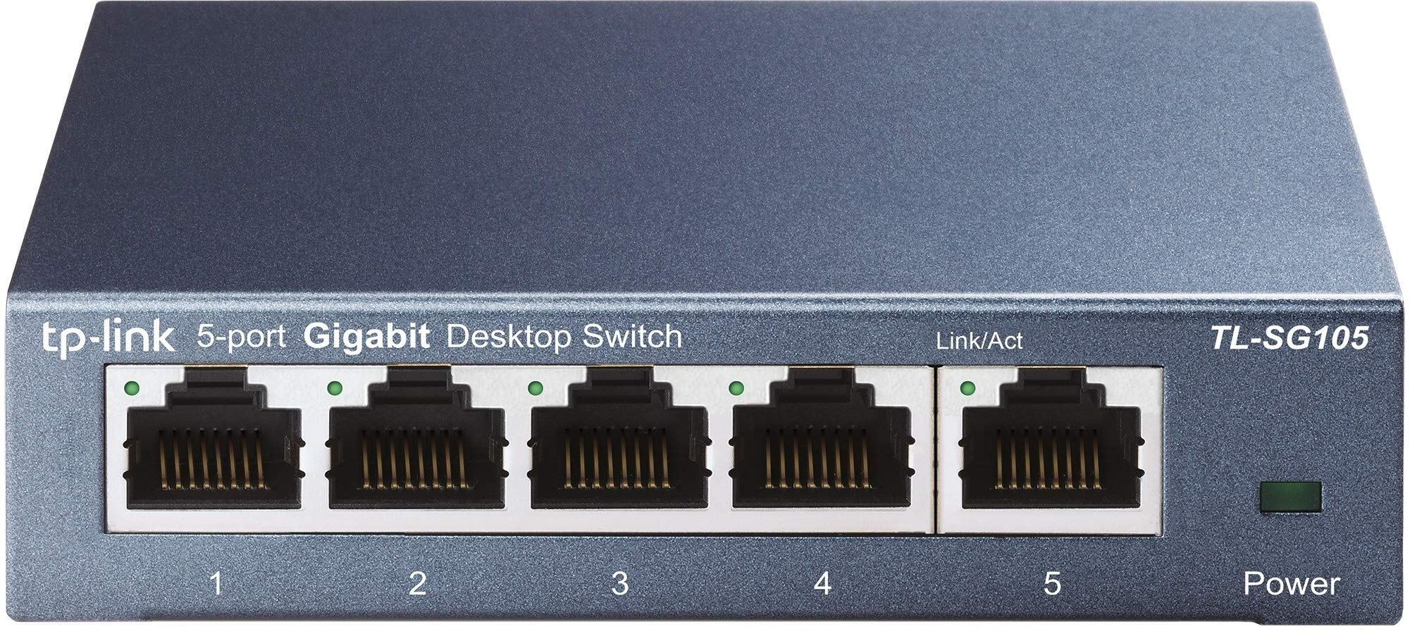 TP-Link Switch 5 Puertos 10/100/1000 (TL-SG105) Ladrón ethernet, Switch ethernet, Switch gigabit, Indicador del estado, acero inoxidable con Super disipación de calor, IGMP snooping, QoS