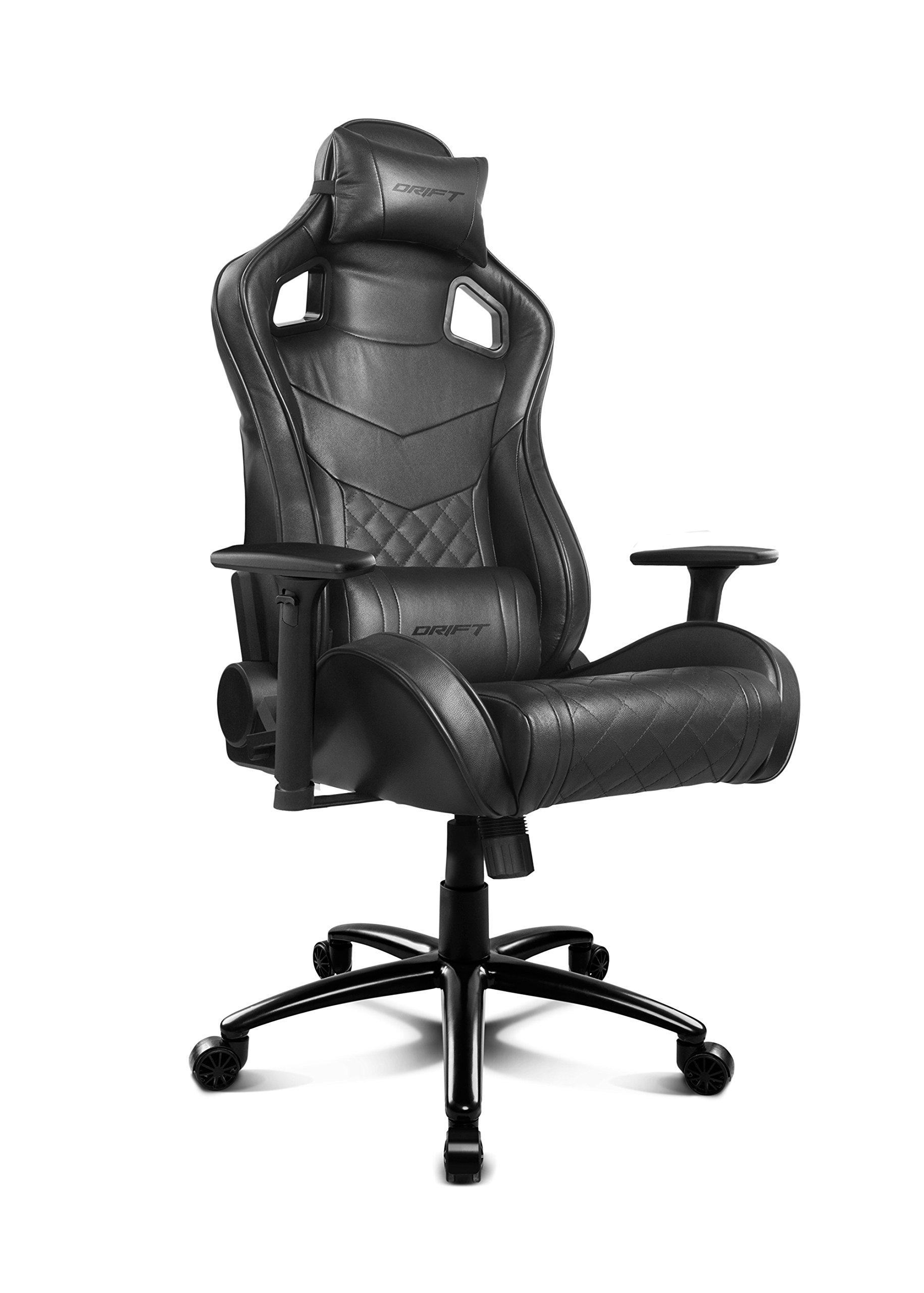 Drift DR450BK – Silla Gaming Profesional, (Poilipiel Alta Calidad, Ergonómica), Color Negro