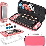YUANHOT Étui Kit d'accessoires Compatible avec Nintendo Switch Lite, 4 in 1 Coque et Housse Transparente et Protection Écran