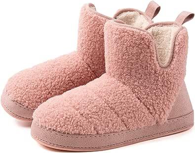 Women's Fuzzy Fleece House Bootie Ladies' Memory Foam Slipper with Rubber Sole