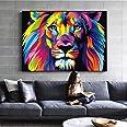 Art Mural Toile Aquarelle Lion Animaux Abstraits Lion Pop Graffiti Art Peintures Sur Le Mur Cuadros Photo Pour BéBé Chambre D
