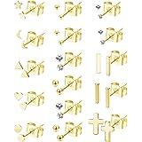 YADOCA 16 Paia Acciaio Inossidabile Orecchini da Donna Ragazze Orecchini BottoneCuore Stella Luna Triangolo Bar Croce Orecch