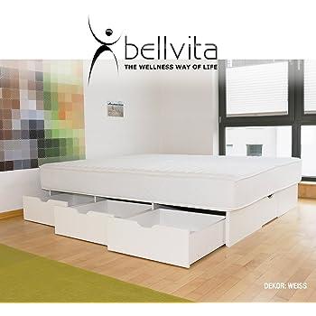 bellvita WASSERBETTEN SCHUBLADENSOCKEL inkl. Lieferung und AUFBAUSERVICE durch Fachpersonal, 180 cm x 200 cm (weiß)