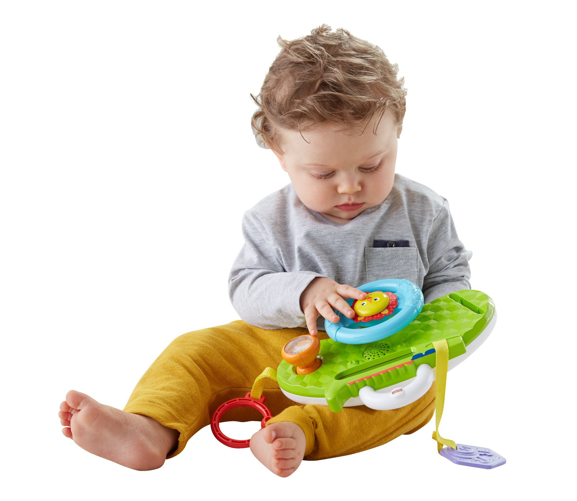 Fisher-Price Rolling and Strolling Dashboard, New-born Activity Toy with Music Sounds Fisher-Price  Attaches to stroller for playtime on the go  Turn the lion steering wheel to hear short songs  Push the lion's face for silly sound effects (Beep beep!) 4